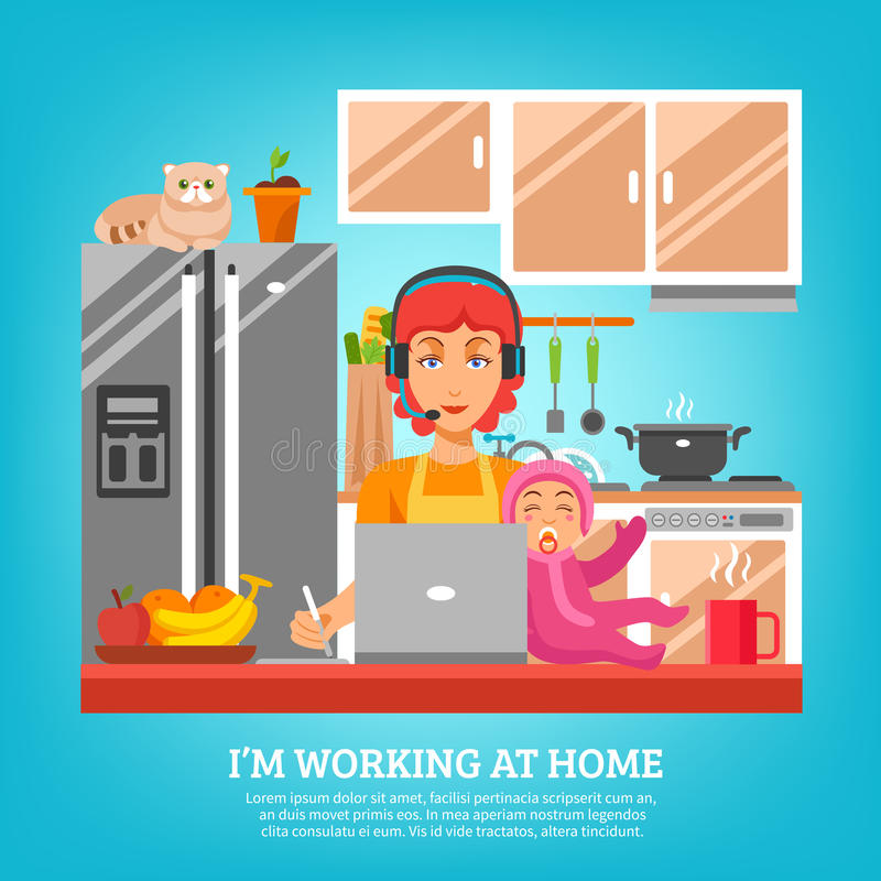 Housewife Design Concept At Kitchen Interior. With woman sitting at desk with computer and baby in lap flat vector illustration stock illustration