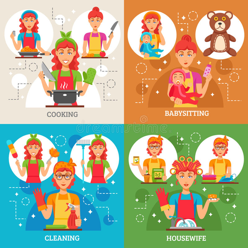 Housewife 2x2 Design Concept. Set of women in apron in kitchen with rubber gloves and broom with baby and nipple in hands vector illustration vector illustration