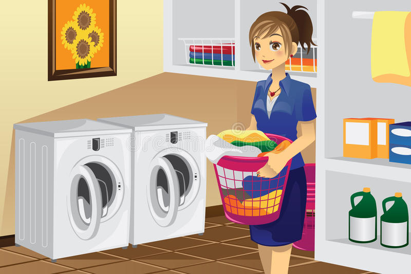 Housewife doing laundry. A vector illustration of a housewife doing laundry in the laundry room stock illustration