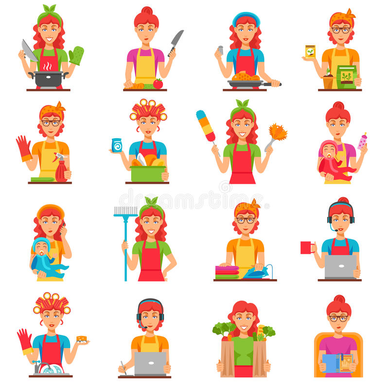 Housewife Flat Color Icons Set. With women doing housework so as cleaning cooking washing babysitting isolated vector illustration royalty free illustration