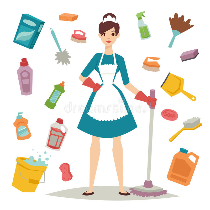 Housewife girl and home cleaning equipment icon in flat style vector illustration. stock illustration