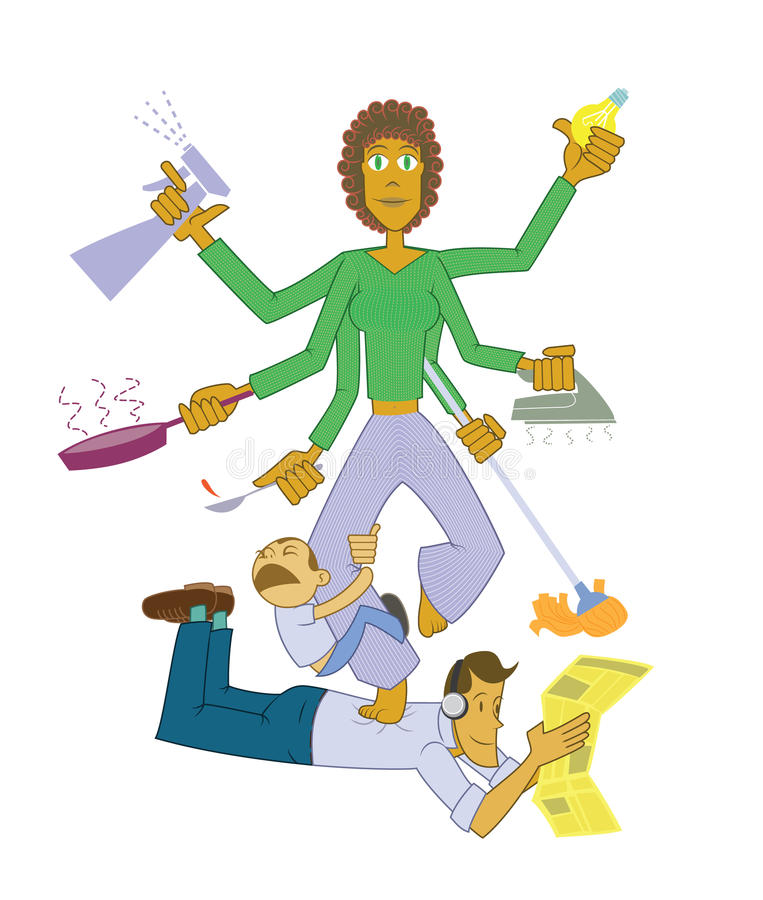 Housewife goddess. Multitask housewife maintaining peace and calm like an indian goddess vector illustration