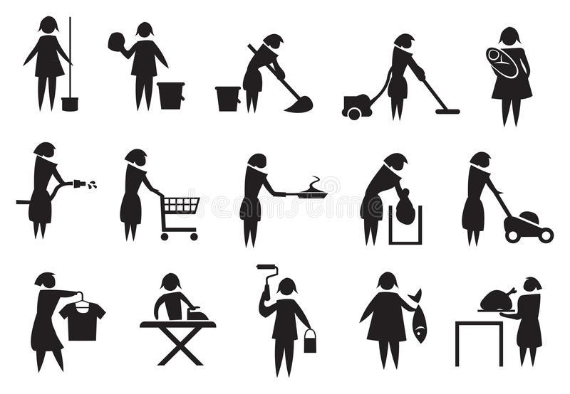 Housewife and Household Chores Icon Set. Vector illustration of housewife doing household chores black and white icons stock illustration