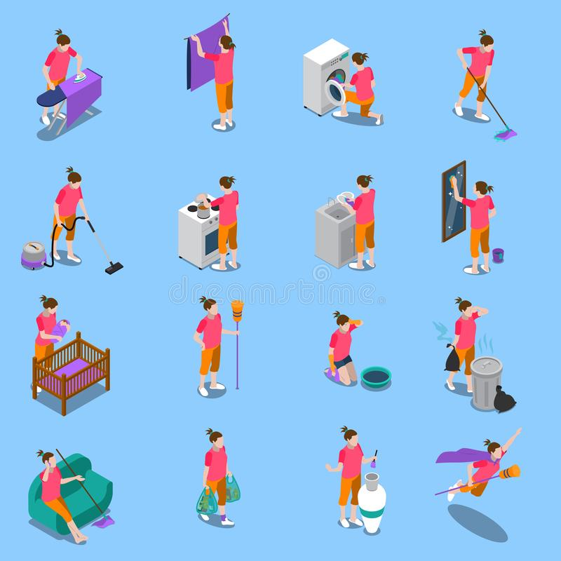 Housewife Isometric Icons Set. Isometric icons set with housewife during home cleaning, cooking, child care on blue background isolated vector illustration stock illustration