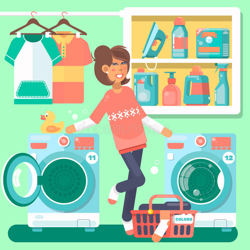 Housewife in the laundry room with washing machine basket and household chemicals flat style illustration. Housewife in the laundry room with washing machine royalty free illustration