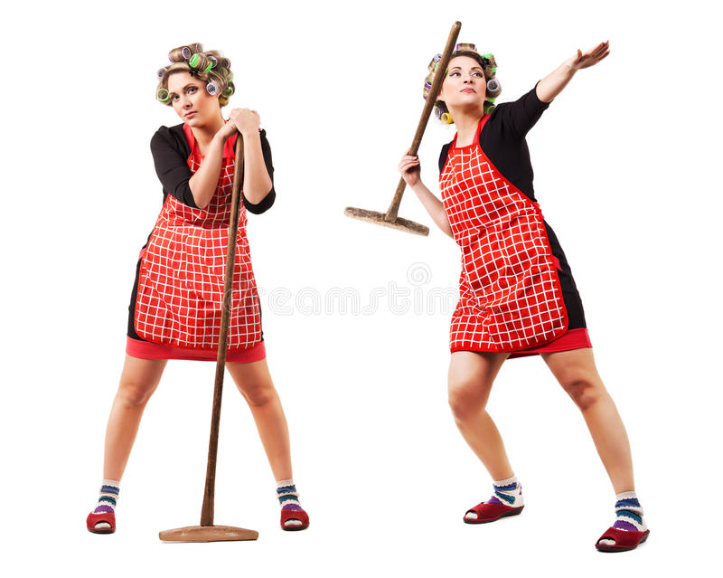 Download Housewife Like Javelin-throwing Athlete Royalty Free Stock Photography - Image: 29620907
