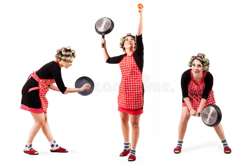 Housewife Play By Tennis Stock Photo