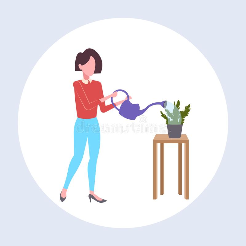Housewife pouring water in domestic potted plant woman holding watering can doing housework concept female cartoon vector illustration