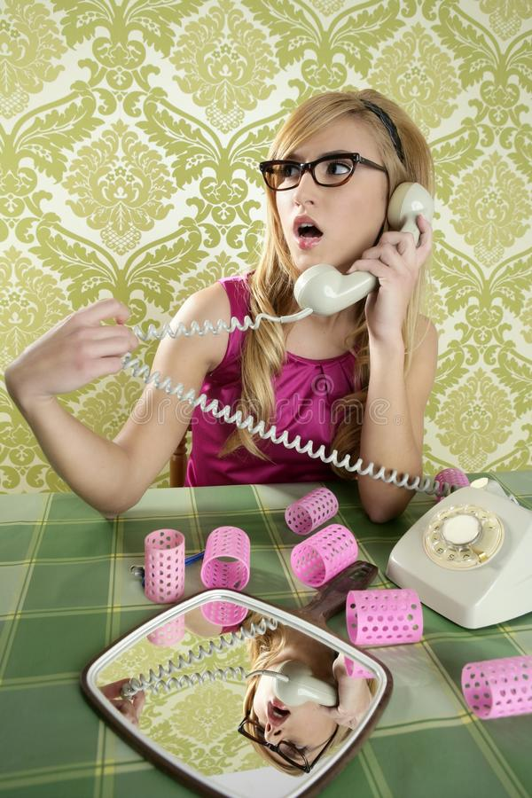 Download Housewife Telephone Woman Vintage Wallpapaper Stock Photo - Image: 17376700