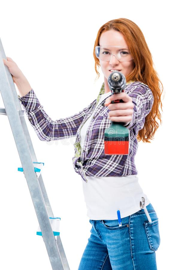 Housewife with tools doing repairs royalty free stock photos