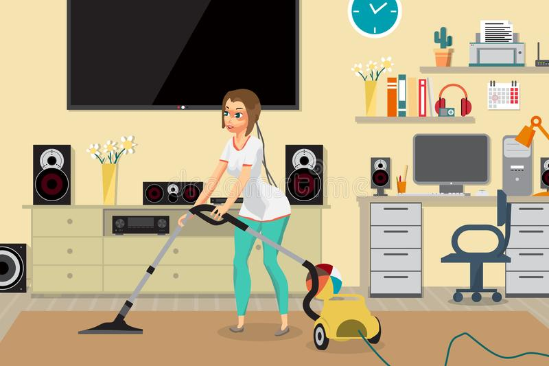 Housewife vacuuming home with a vacuum cleaner in the room. Young woman doing domestic work. Flat cartoon vector illustration vector illustration