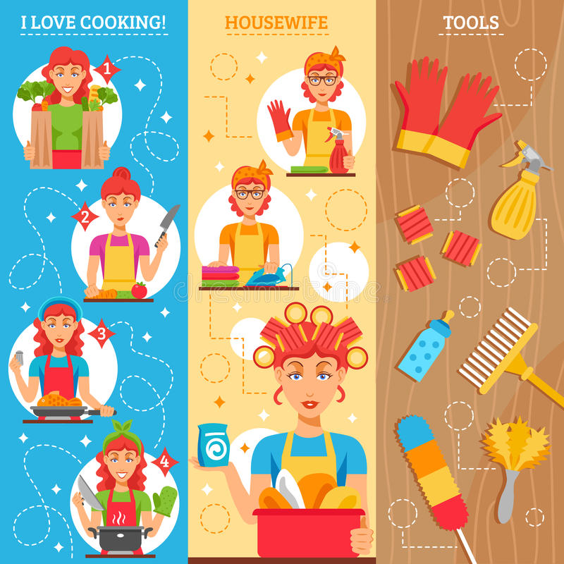 Housewife Vertical Banners. Set of female figures in home clothes household utensils and tools for cleaning vector illustration royalty free illustration