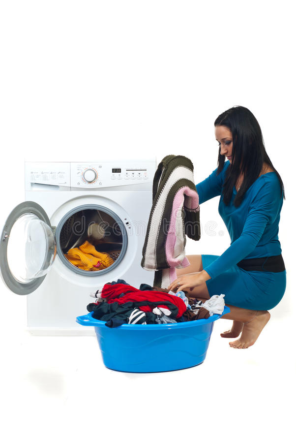 Housewife wash laundry stock photos