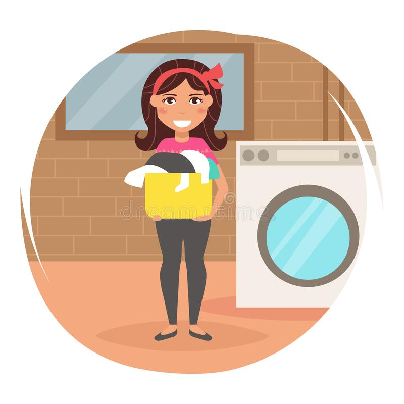 Housewife washes clothes royalty free illustration