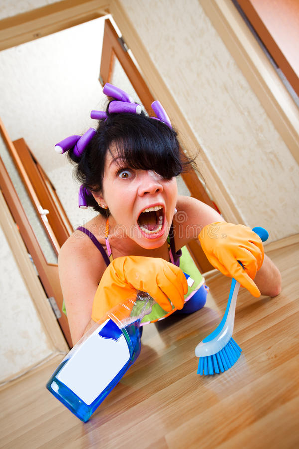 Download Housewife washes a floor stock image. Image of indoors - 16515333