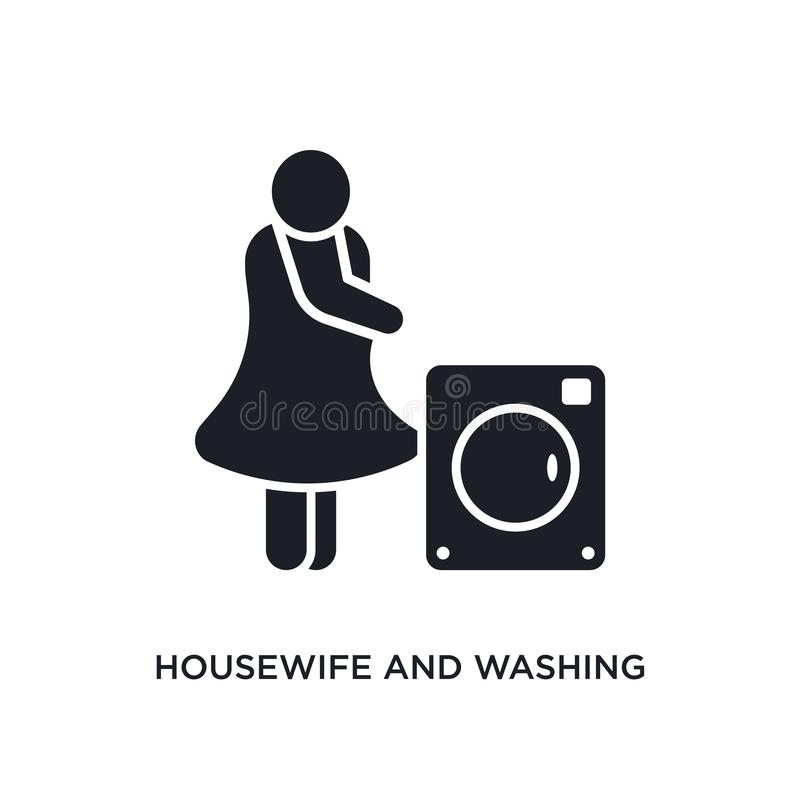housewife and washing machine isolated icon. simple element illustration from humans concept icons. housewife and washing machine royalty free illustration