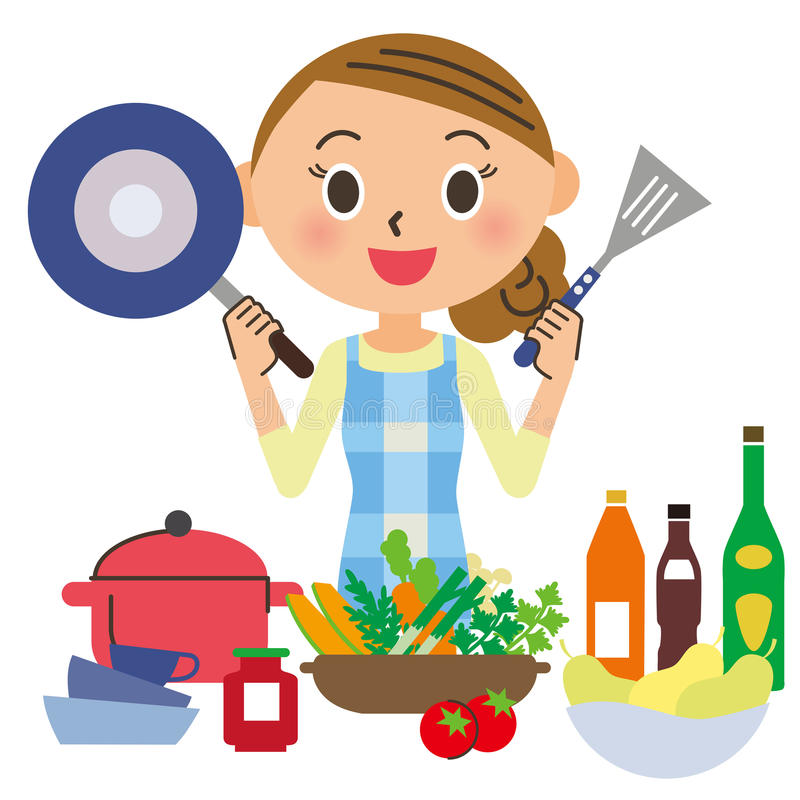 Housewife who cooks. A delicious dish in a kitchen vector illustration