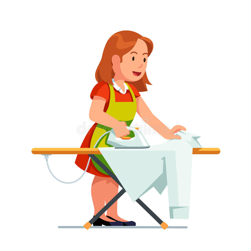 Housewife woman ironing shirt using iron and board royalty free illustration
