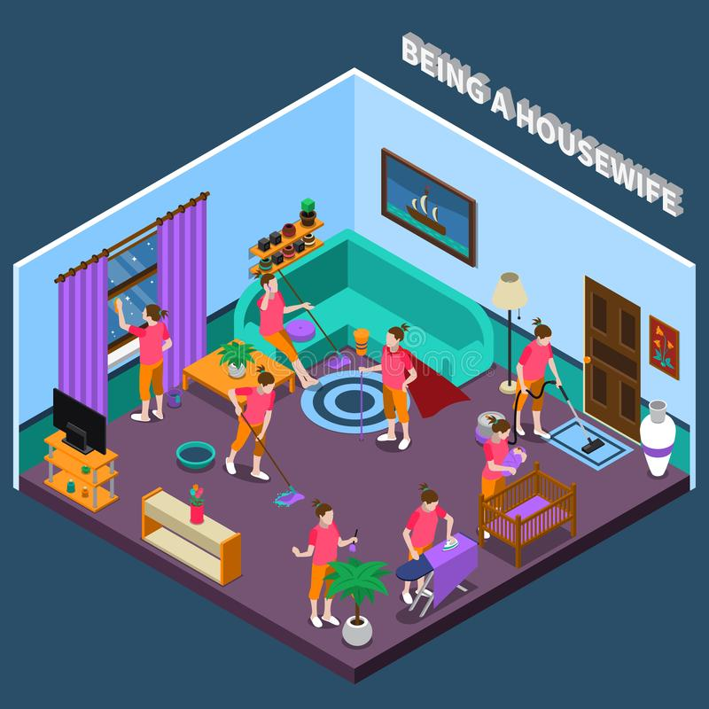 Housewife Isometric Composition. Housewife during work including washing floor and window, ironing linen and child care isometric composition vector illustration royalty free illustration