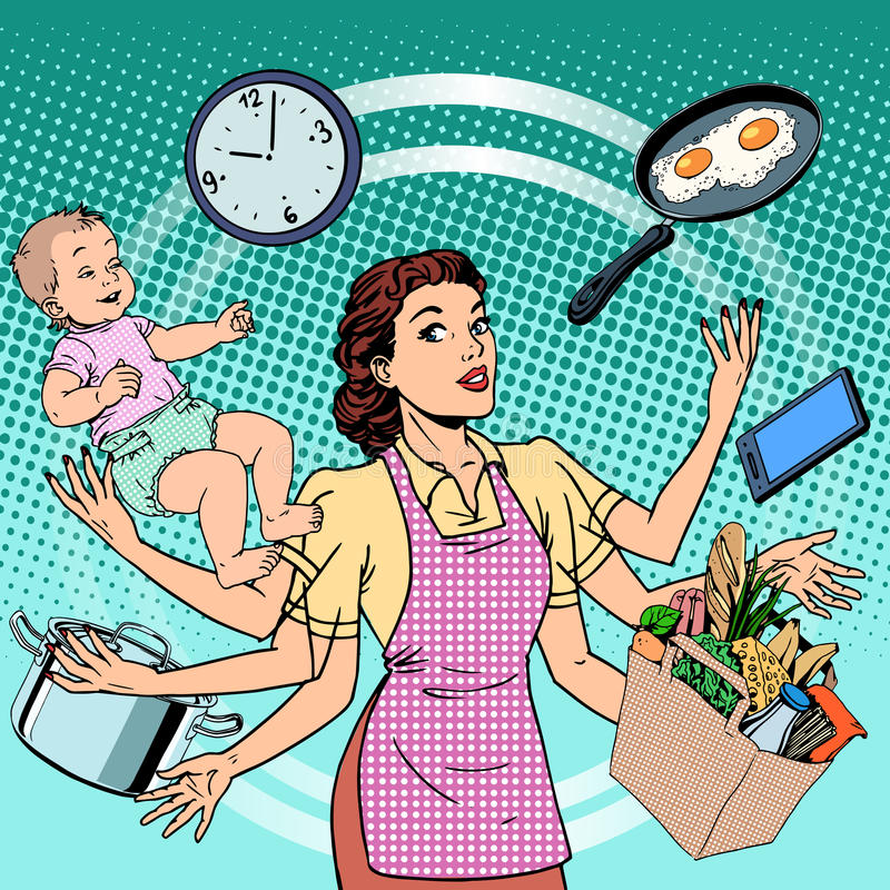Housewife work time family success woman. Pop art retro style. A woman plans the time and manages to do everything around the house. Child care, work via stock illustration