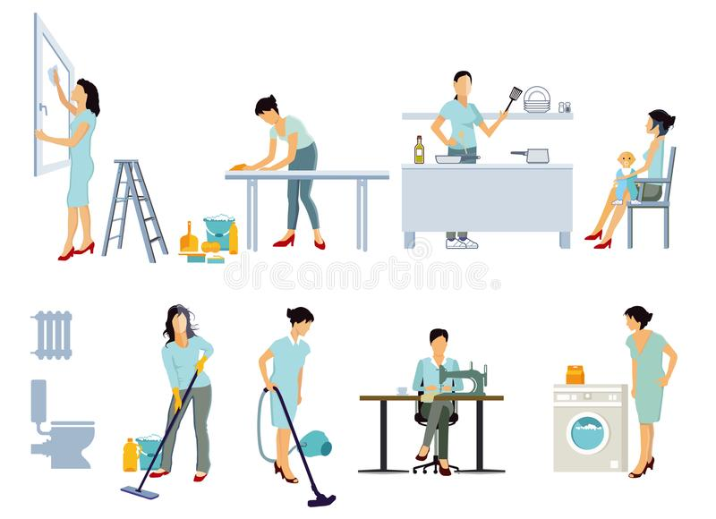 Housewife working at home. Colorful illustrations of jobs a housewife does in the home including, sewing, mopping, vacuuming, painting and decorating, baby vector illustration
