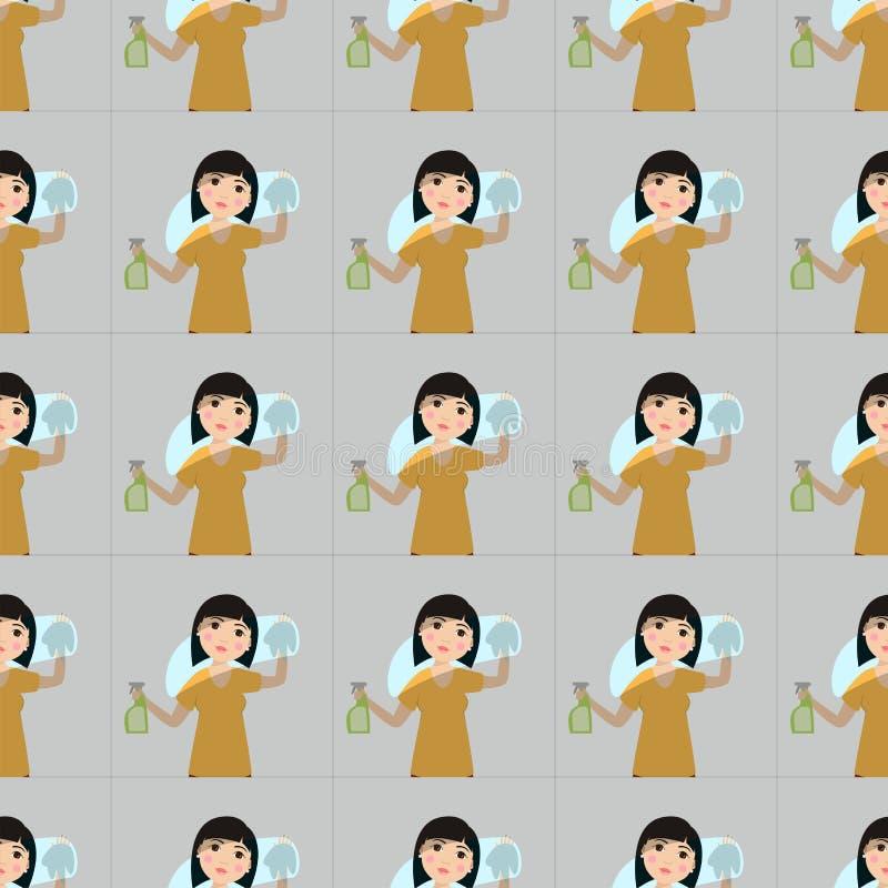 Housewifes homemaker kobiety cleaning kreskówki dziewczyny tła ślicznego bezszwowego deseniowego housewifery żony żeński charakte ilustracji