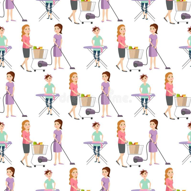 Housewifes homemaker kobiety cleaning kreskówki dziewczyny tła ślicznego bezszwowego deseniowego housewifery żony żeński charakte ilustracja wektor