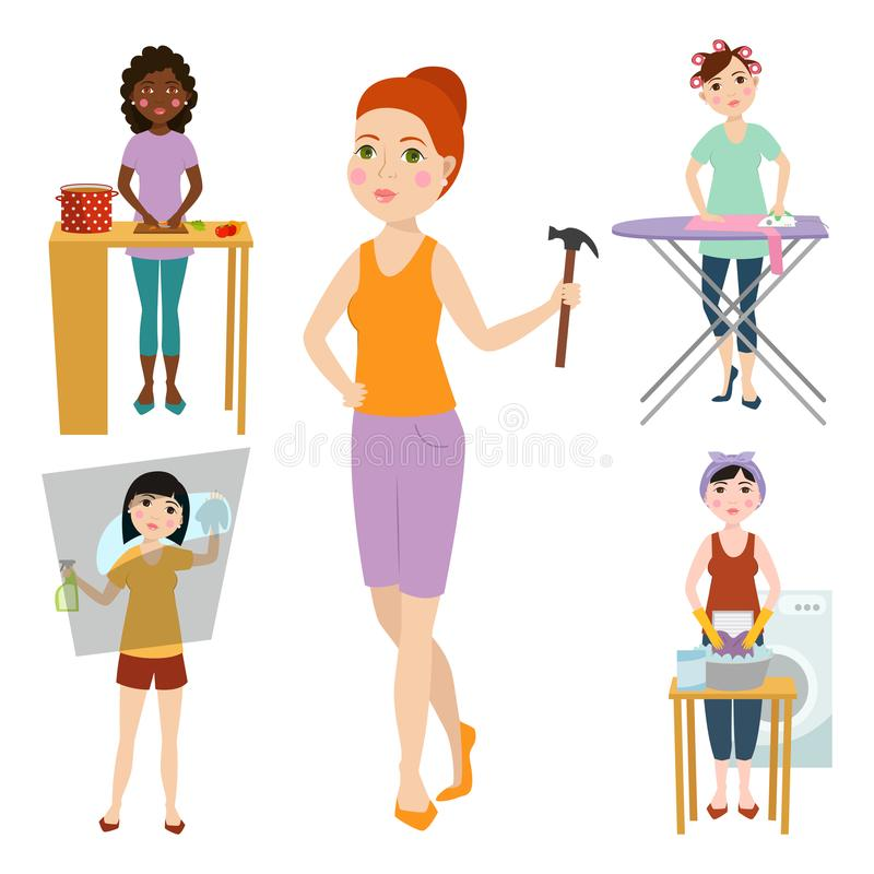 Housewifes homemaker woman cute cleaning cartoon girl housewifery female wife character vector illustration. vector illustration