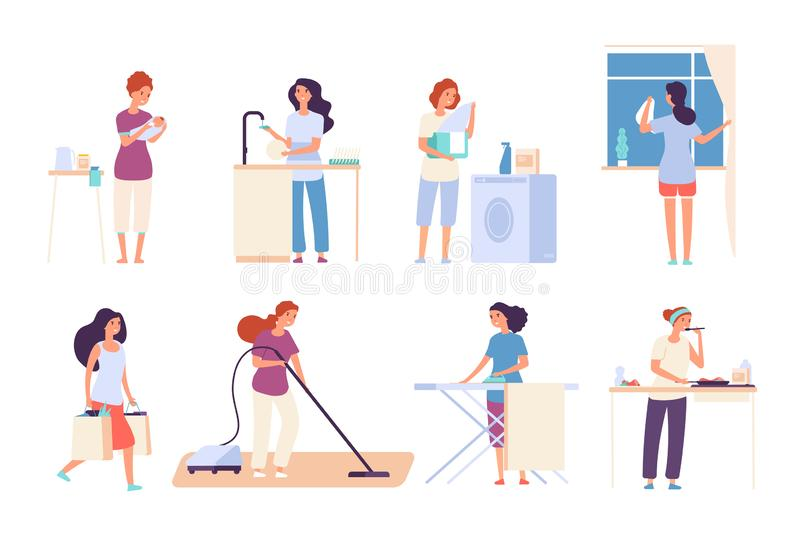 Housewives. Woman housewife doing housework, happy mother cooks in kitchen, ironing and cleaning, vacuuming. Cartoon vector illustration