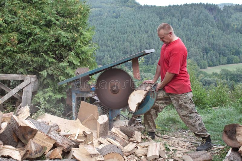Housework, Man Cuts Wood, Preparation For Winter Stock Image