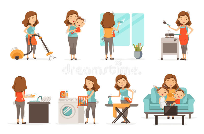 Housework. Smiling housewife and happy activities Set of affairs woman. Baby care ,irons, vacuums, cleans, cooks,Wash dishes,Wipe the mirror, brings up children vector illustration