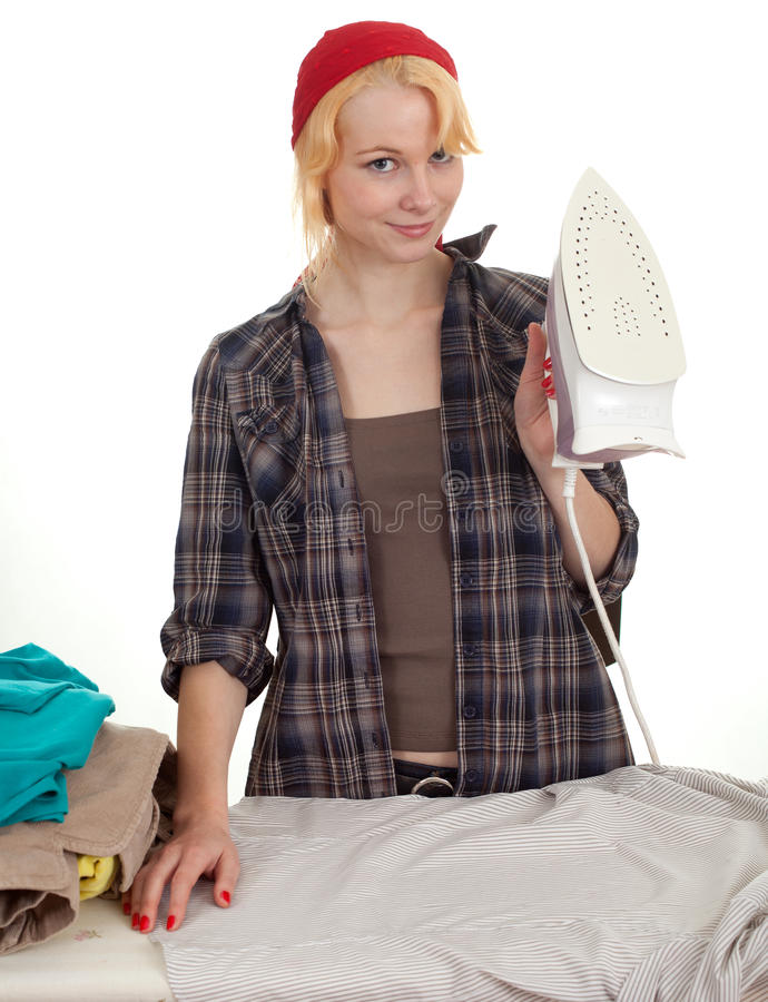 Download Housework - Woman Ironing Clothes Stock Photo - Image of housekeeper, iron: 16643044