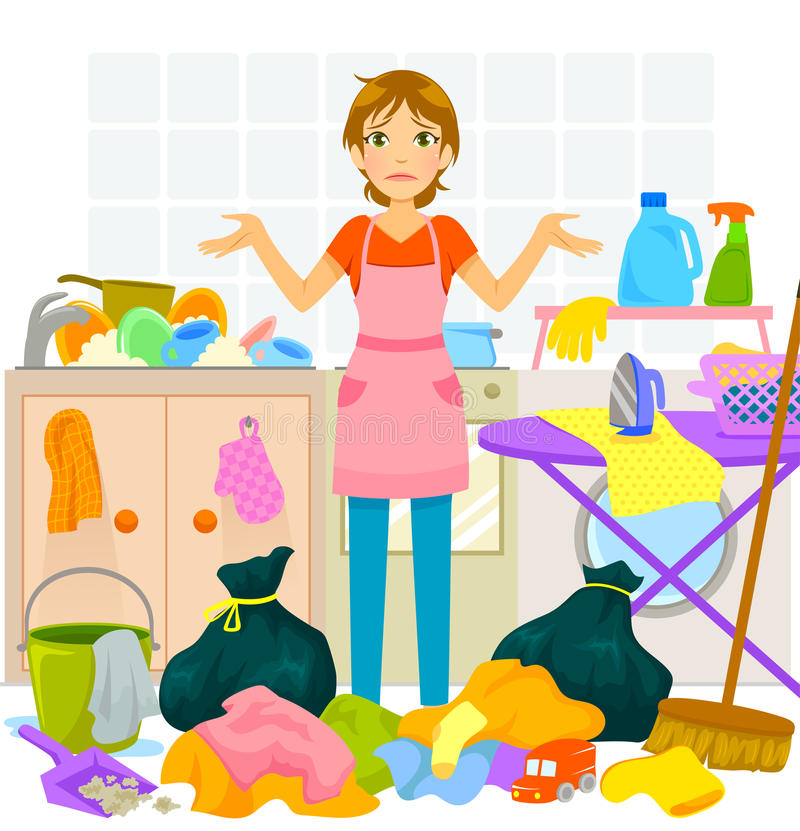 Housework. Young woman overwhelmed by too much housework royalty free illustration