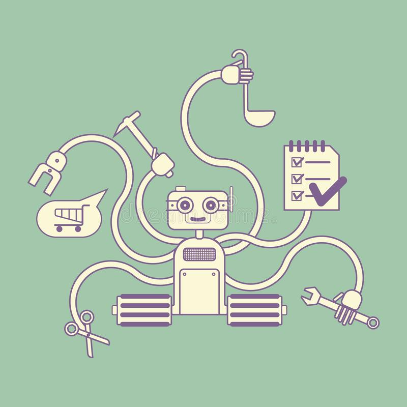 Houseworker robot with several hands stock illustration