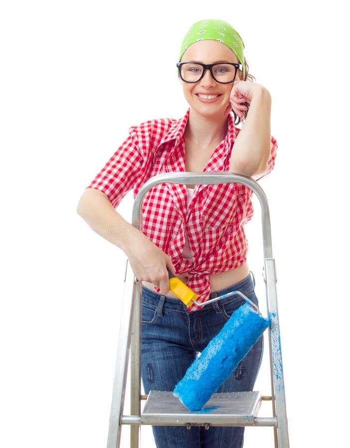 Houseworker ung kvinna royaltyfria foton