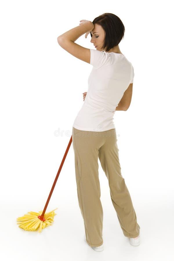 houseworking утомленная женщина стоковые изображения