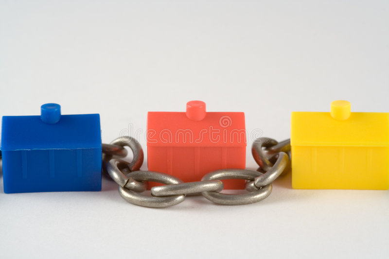 Housing Chain. Metaphor for buying a house stock photos