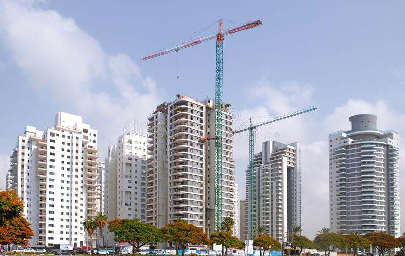 Housing construction of houses in a new area of the city Holon in Israel royalty free stock images