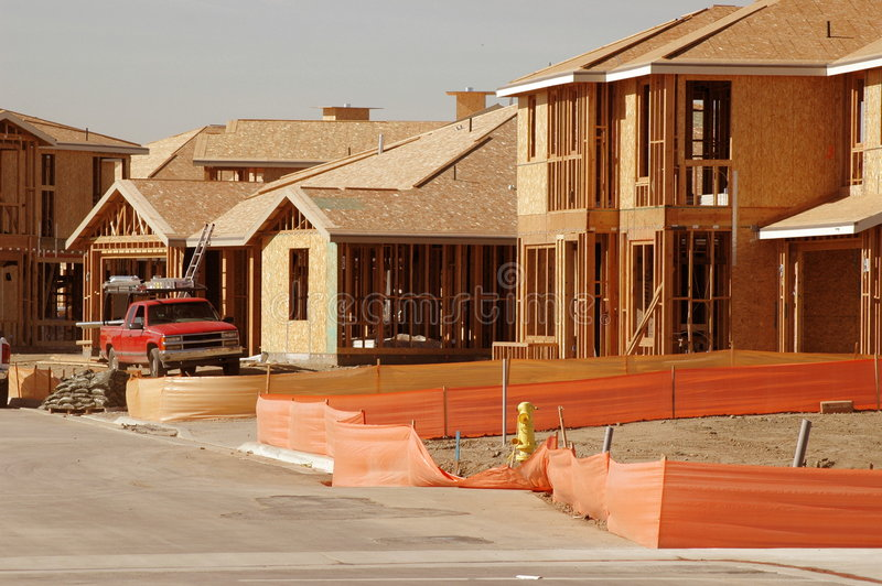 Housing Construction Site and Work Truck stock photos