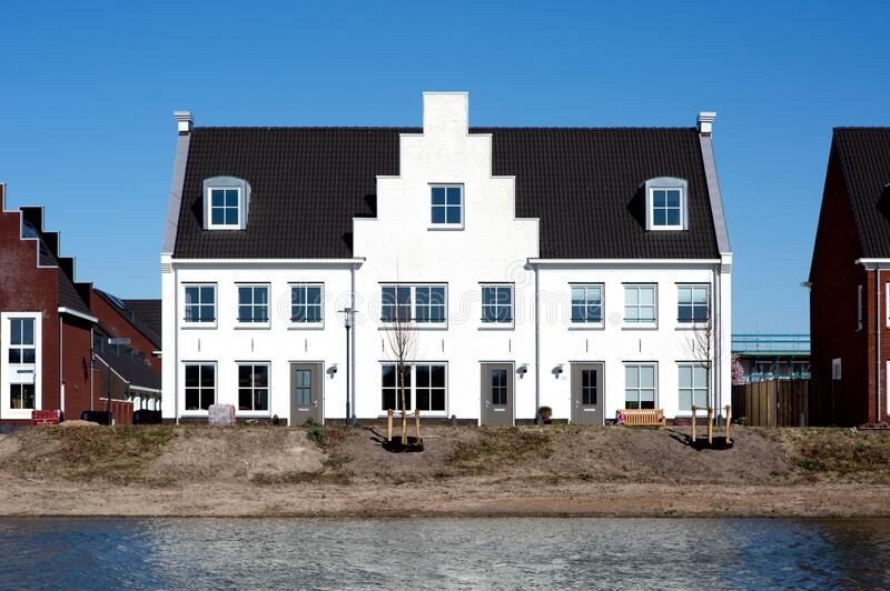 Housing development on the waterfront stock image