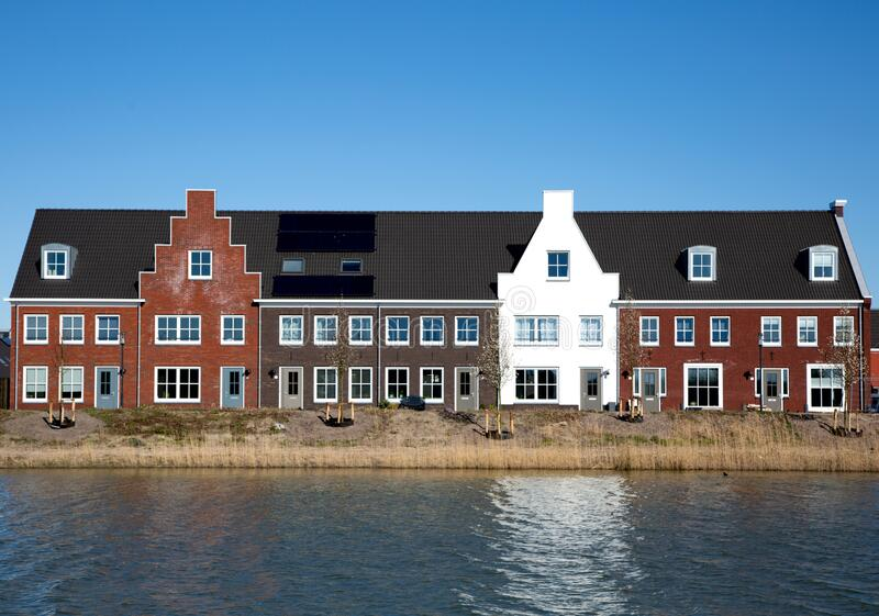 Housing development on the waterfront stock photography