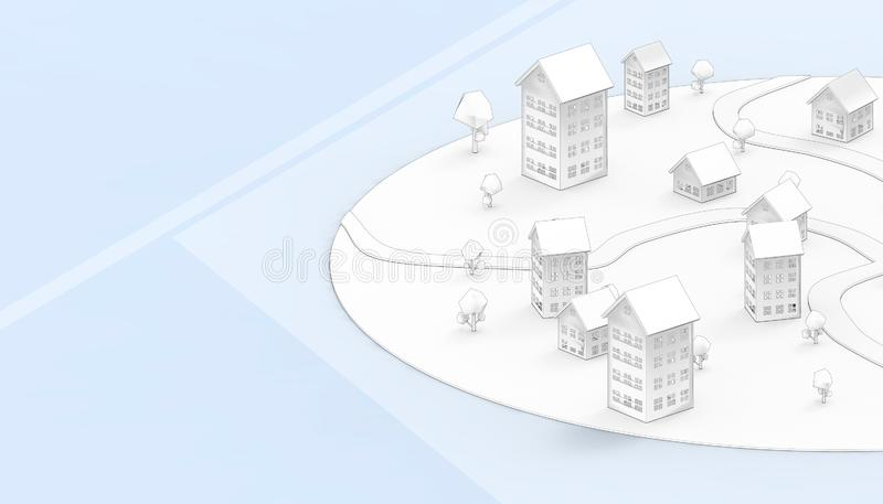 Housing drawing Symbol and Community property business Concept Modern Art and contemporary on blue paste Background. 3d rendering stock illustration