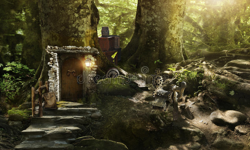 Housing dwarves and elves in a magical forest stock photography