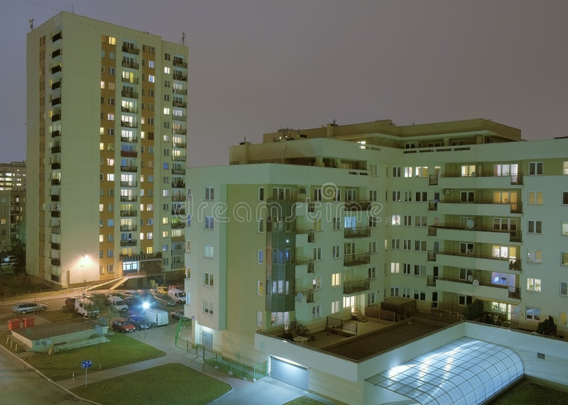 Housing Estate. Sixties Architecture. Housing Estate by Night. HDR technic royalty free stock photo