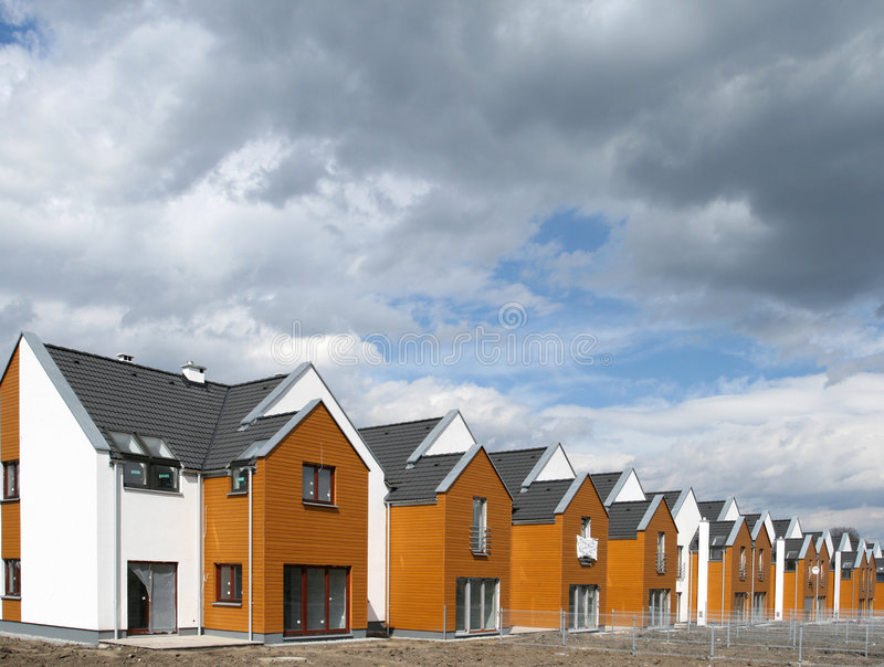 Housing in Europe. Modern singly-family terraced homes in Poland (Europe stock photography