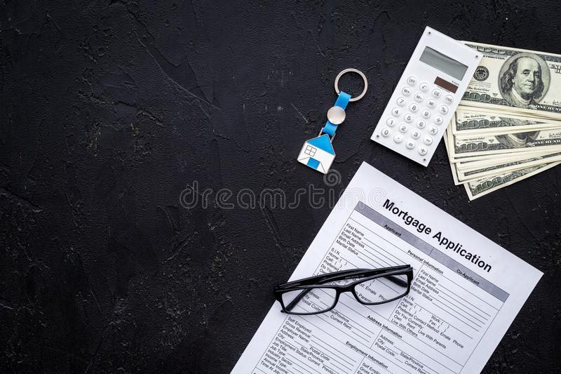 Draw Up A Mortgage. Mortgage Application Near Keychain In Shape Of