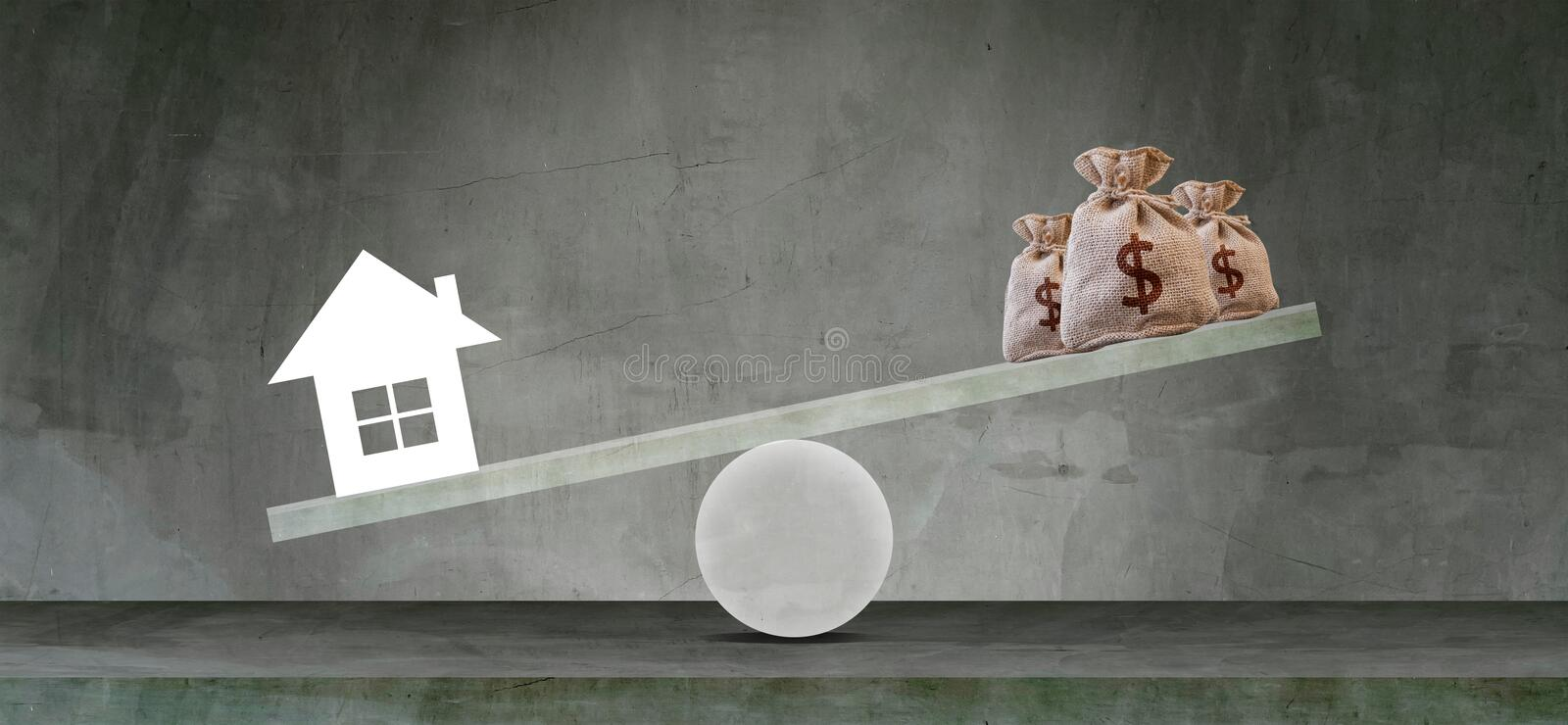 Housing loan market Sample houses and balance piggy bank on the seesaw Real estate concepts,Personal income imbalance stock image