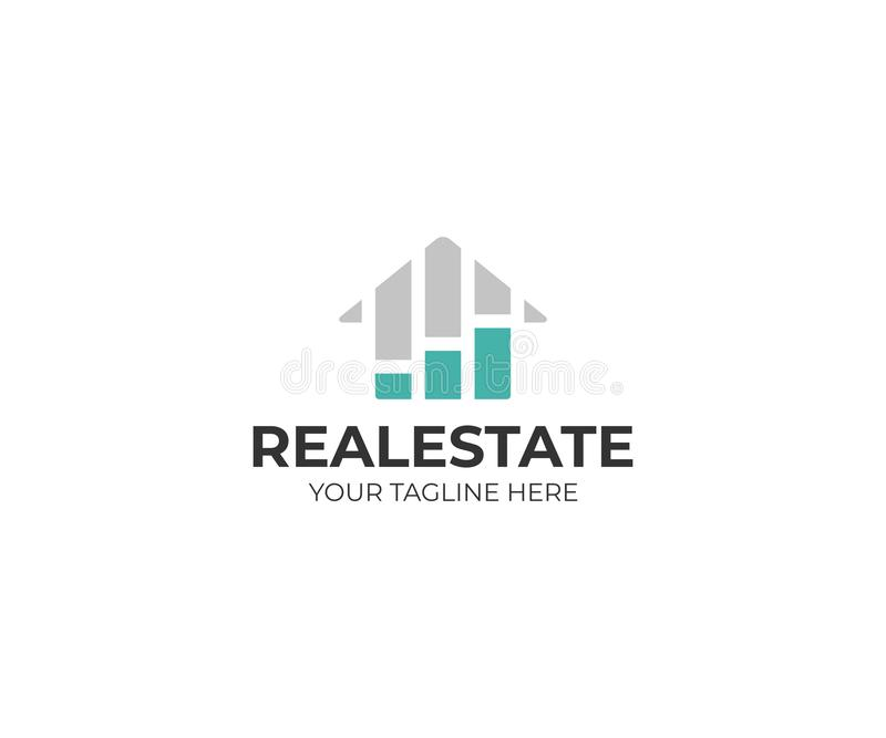 Housing market logo template. Real estate stock market vector design. Growth chart and home logotype royalty free illustration