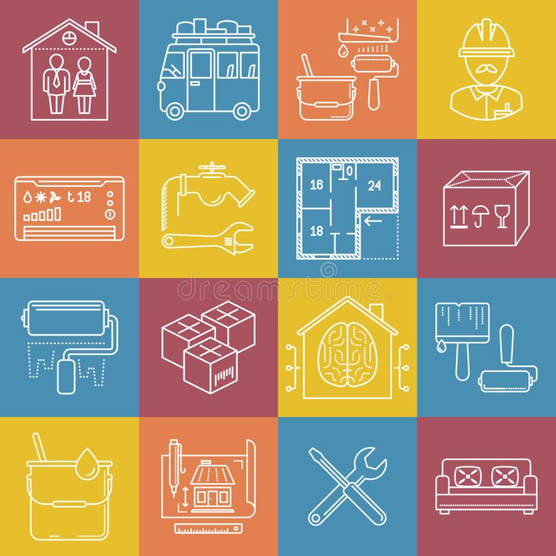 Housing and movement lineart minimal vector iconset on multicolor checkered texture.  royalty free illustration