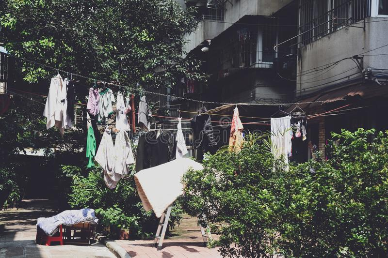 Housing in Old Town in Liwan District, Guangzhou, Maintaining the charm of old Guangzhou, It`s a good place to know more about Gua. Ngzhou royalty free stock photo